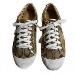 Coach Zorra Gold Sequined Sneakers